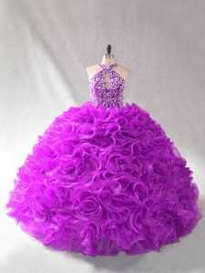 Most Popular Purple Lace Up Quinceanera Dresses Beading Sleeveless Floor Length