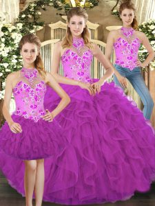 Perfect Fuchsia Lace Up 15 Quinceanera Dress Embroidery and Ruffles Sleeveless Floor Length