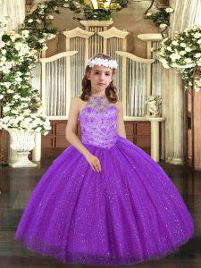 Cheap Floor Length Ball Gowns Sleeveless Purple Little Girls Pageant Dress Lace Up