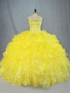 Exquisite Yellow Strapless Neckline Beading and Ruffles Sweet 16 Dresses Sleeveless Lace Up