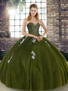 Olive Green Sweetheart Lace Up Beading and Appliques Quinceanera Gown Sleeveless