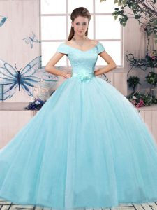 Lace and Hand Made Flower Sweet 16 Dresses Aqua Blue Lace Up Short Sleeves Floor Length