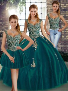 Vintage Sleeveless Floor Length Beading and Appliques Lace Up Quinceanera Gowns with Peacock Green