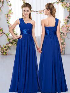 Royal Blue Empire Belt Dama Dress for Quinceanera Lace Up Chiffon Sleeveless Floor Length