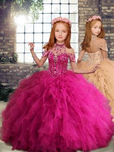 Colorful Sleeveless Beading and Ruffles Lace Up Kids Formal Wear