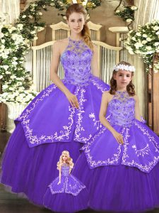 Spectacular Purple Sleeveless Floor Length Beading and Embroidery Lace Up 15th Birthday Dress