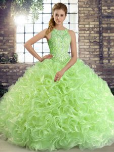 Lovely Fabric With Rolling Flowers Sleeveless Floor Length Quinceanera Gown and Beading