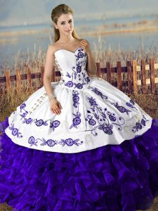 Fantastic Purple Ball Gowns Embroidery Sweet 16 Quinceanera Dress Lace Up Satin and Organza Sleeveless Floor Length