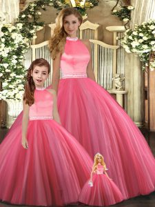 Glorious Ball Gowns Quinceanera Gowns Coral Red Halter Top Tulle Sleeveless Floor Length Backless