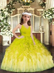 Customized Olive Green Tulle Zipper Little Girl Pageant Gowns Sleeveless Floor Length Ruffles