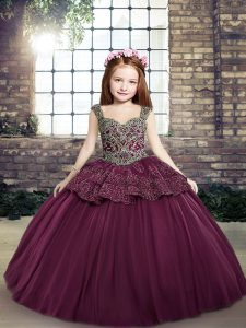 Straps Sleeveless Lace Up Girls Pageant Dresses Purple Tulle