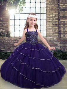 High End Sleeveless Lace Up Floor Length Beading Kids Pageant Dress