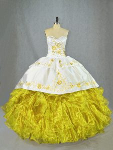 Most Popular Yellow Sleeveless Satin and Organza Brush Train Lace Up Vestidos de Quinceanera for Sweet 16 and Quinceanera