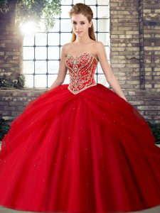 Sophisticated Red Tulle Lace Up Quinceanera Dresses Sleeveless Brush Train Beading and Pick Ups