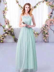 Stunning Light Blue Scoop Side Zipper Lace and Belt Quinceanera Court Dresses Sleeveless