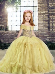Tulle Off The Shoulder Sleeveless Lace Up Beading Pageant Dress for Womens in Yellow