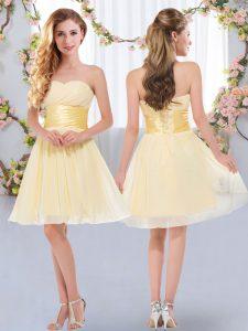 Beauteous Belt Damas Dress Yellow Lace Up Sleeveless Mini Length