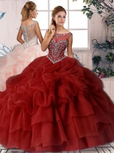 Wine Red Ball Gowns Organza Scoop Sleeveless Beading and Pick Ups Zipper Quinceanera Dresses Brush Train