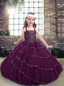 Purple Straps Lace Up Beading and Ruffled Layers Little Girl Pageant Dress Sleeveless