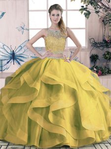 Captivating Olive Green Ball Gowns Tulle Scoop Sleeveless Beading and Ruffles Floor Length Lace Up Vestidos de Quinceanera