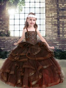 Comfortable Sleeveless Tulle Floor Length Lace Up Child Pageant Dress in Brown with Beading and Ruffles