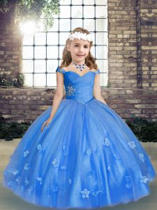 Fabulous Blue Ball Gowns Beading and Hand Made Flower Little Girl Pageant Dress Lace Up Tulle Sleeveless Floor Length