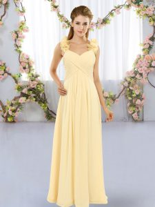 Yellow Straps Lace Up Hand Made Flower Quinceanera Court Dresses Sleeveless