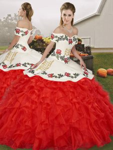 Sleeveless Floor Length Embroidery and Ruffles Lace Up Quinceanera Dress with White And Red