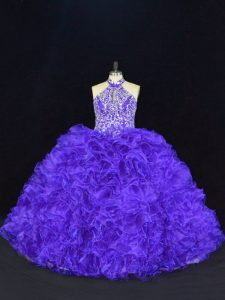 Purple Sleeveless Floor Length Beading and Ruffles Lace Up Vestidos de Quinceanera