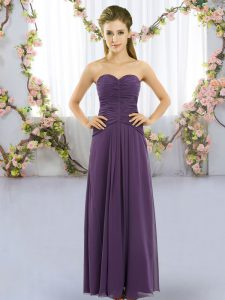 Designer Sleeveless Floor Length Ruching Lace Up Dama Dress for Quinceanera with Purple