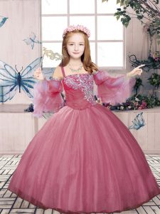 Unique Pink Sleeveless Beading Floor Length Little Girls Pageant Dress