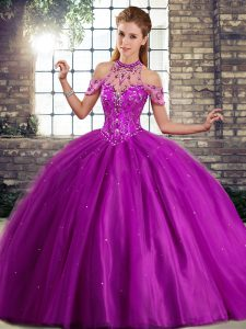 Purple Ball Gowns Beading Quinceanera Dresses Lace Up Tulle Sleeveless