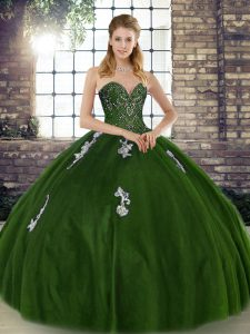 Olive Green Tulle Lace Up Sweetheart Sleeveless Floor Length Vestidos de Quinceanera Beading and Appliques