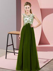 Olive Green Empire Beading and Appliques Vestidos de Damas Zipper Chiffon Sleeveless Floor Length