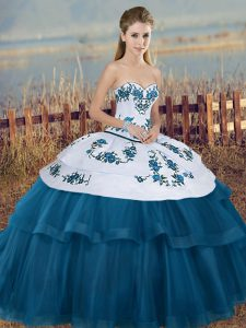 New Arrival Blue And White Ball Gowns Embroidery and Bowknot Quinceanera Dresses Lace Up Tulle Sleeveless Floor Length