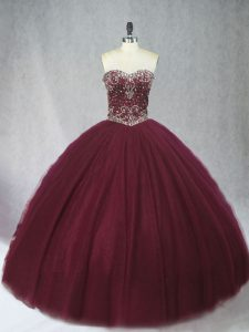 Burgundy Sleeveless Tulle Lace Up Sweet 16 Quinceanera Dress for Sweet 16 and Quinceanera