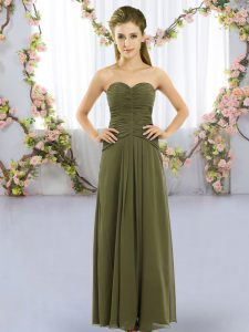 Stylish Chiffon Sweetheart Sleeveless Lace Up Ruching Dama Dress for Quinceanera in Olive Green