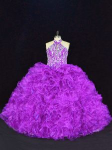 Graceful Purple Organza Lace Up Sweet 16 Quinceanera Dress Sleeveless Floor Length Beading and Ruffles