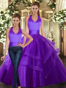 Smart Two Pieces Sweet 16 Dresses Purple Strapless Tulle Sleeveless Floor Length Lace Up