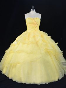 Unique Sleeveless Lace Up Floor Length Hand Made Flower Sweet 16 Quinceanera Dress