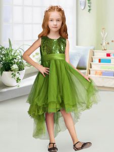 Amazing Olive Green Zipper Scoop Sequins and Bowknot Pageant Gowns For Girls Organza Sleeveless