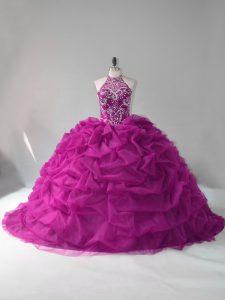 Ball Gowns Quinceanera Dress Fuchsia Halter Top Organza Sleeveless Lace Up