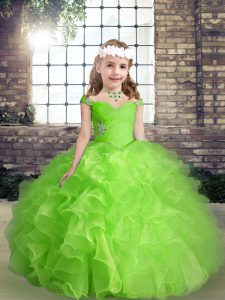 Colorful Beading and Ruffles Little Girls Pageant Dress Lace Up Sleeveless Floor Length