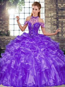 Sumptuous Floor Length Ball Gowns Sleeveless Purple Quinceanera Dresses Lace Up