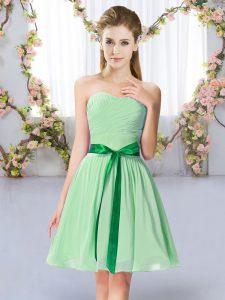 Apple Green Sleeveless Belt Mini Length Dama Dress for Quinceanera