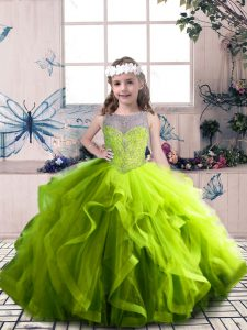Discount Olive Green Sleeveless Floor Length Beading and Ruffles Lace Up Child Pageant Dress