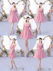 Pink Lace Up Court Dresses for Sweet 16 Appliques and Belt Half Sleeves Mini Length
