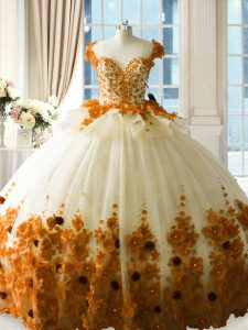 Brown Ball Gowns Hand Made Flower Sweet 16 Dresses Zipper Tulle