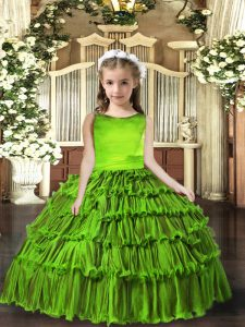 Olive Green Lace Up Pageant Dress Womens Sleeveless Floor Length Ruffled Layers