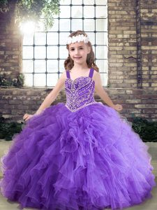 Enchanting Lavender and Purple Sleeveless Floor Length Beading and Ruffles Lace Up Pageant Gowns For Girls